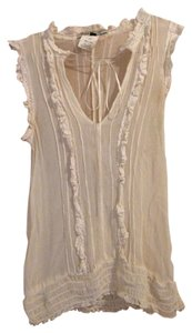 Allen Schwartz Lace Sheer Tie Top cream