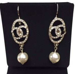 Chanel Chanel Crystal Pearl Dangle Earrings