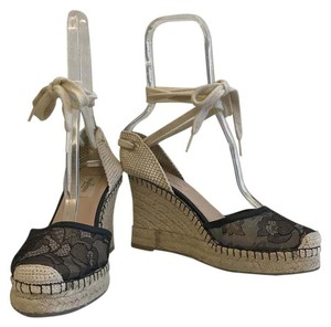 Valentino Espadrille Wedge Lace Black Sandals