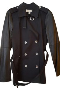 Michael Kors Leather Sleeves Leather Pocket Buttons Trench Coat