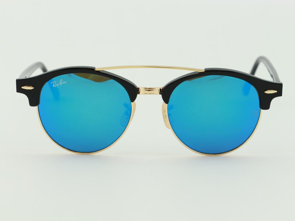 a1ad9d6ae9 Ray-Ban Black   Blue Clubround Double Bridge Rb4346 901 17 Mirror  Sunglasses - Tradesy