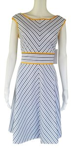 London Times short dress White, Gray, Yellow Seersucker Striped Sun on Tradesy