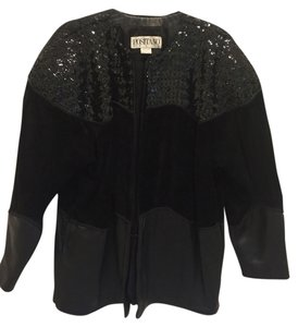 Positano Sequin Leather Suede Black Jacket
