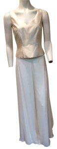 St. John Evening Silk Super Flare Pants Ivory