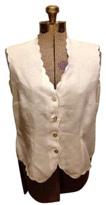 Talbots Irish Linen Buttons Petites Sleeveless Top White