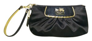 Coach Amanda Satin Sateen Black Clutch