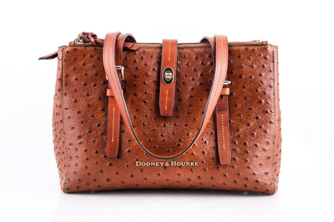 Item - Miller Ostrich-embossed Shopper Brown Leather Tote