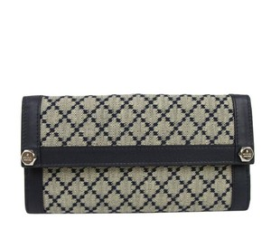 Gucci Diamante Canvas Charmy Clutch Continental Wallet Navy Trim 231839 4075
