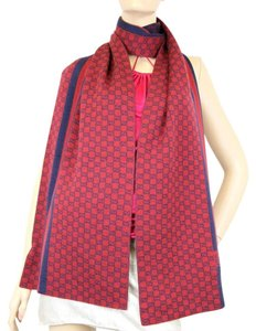Gucci NEW Two Tone Wool GG Scarf w/Script Design Red Blue 347972 6268
