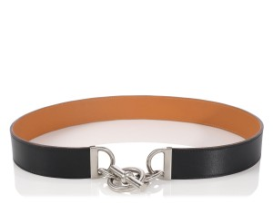 Herms Black Chaine d'Ancre Belt
