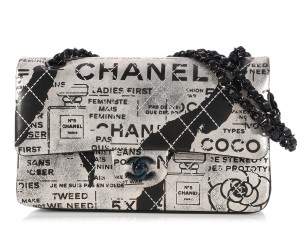 Chanel Newsprint Ch.k1207.07 Hand Painted Graffiti Quilted Shoulder Bag