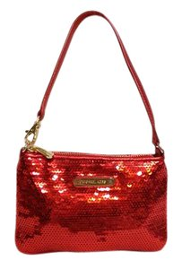 Michael Kors Mini Wristlet in red metallic sequins