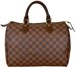 Louis Vuitton Speedy Speedy 30 Boston Damier Ebene Satchel in Brown