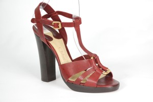 Chloé Leather Block Heel Plum Sandals