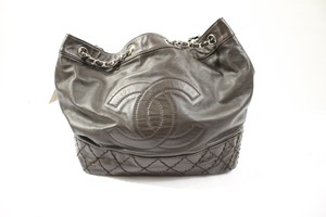 Chanel Vintage Silver Hardware Chain Leather Monogram Hobo Bag