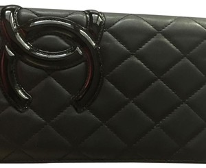 Chanel Chanel Cambon CC black patent long wallet