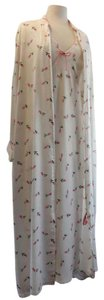 White and Pink Maxi Dress by Natori Robe Lingerie Honeymoon Maxi