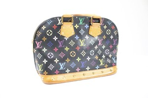 Louis Vuitton Monogram Leather Gold Hardware Studded Vintage Satchel in Black and Multicolor