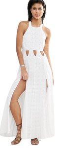 Milk Maxi Dress by Tularosa Cutout Maxi Lace Cross Back