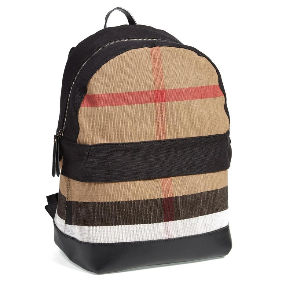 084d40d214b1 Burberry Check Print Canvas Brown Leather Backpack - Tradesy