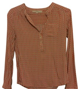 Ann Taylor Top Orange and brown pattern