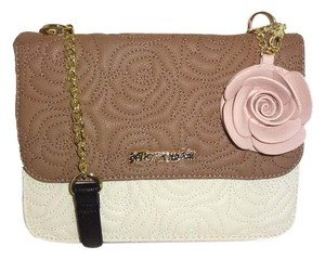 Betsey Johnson Front Flap Snap Closure Spice/cream Cross Body Bag