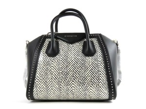 Givenchy Studded Snakeskin Satchel in Black
