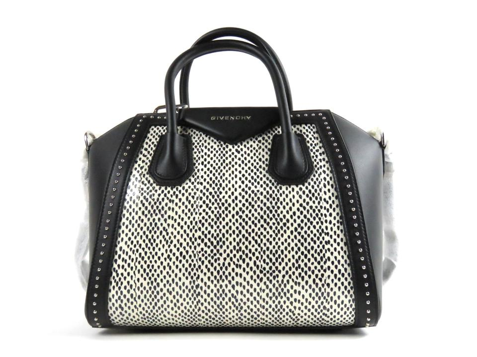 cad79b89c5f6 Givenchy Antigona Small Studded Leather   Spotted Snakeskin Black ...