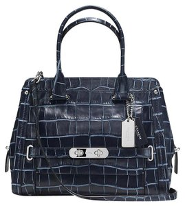Coach Swagger Leather Black Satchel in Navy Blue
