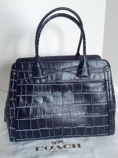 Coach New Swagger Frame In Denim Croc Embossed Leather