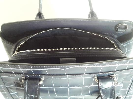 Coach New Swagger Frame In Denim Croc Embossed Leather Navy Blue Satchel Tradesy