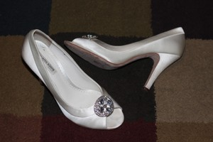 Benjamin Adams Silver Medallion Open Toe Silk Wedding Pumps Wedding Shoes