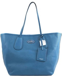 Coach Taxi Black Leather 33581 Tote in Teal Blue