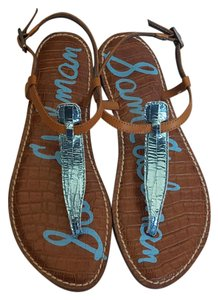 Sam Edelman Gigi Blue Cracked Leather Cracked Blue Sandals
