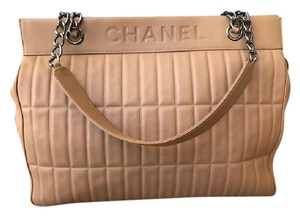 Chanel Leather Quilted Tote Shoulder Bag