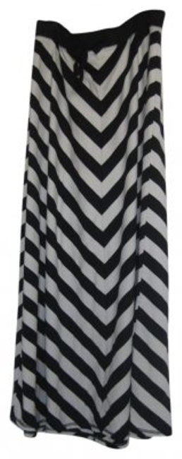 Old Navy Chevron Stripes Cotton Maxi Skirt Black and White