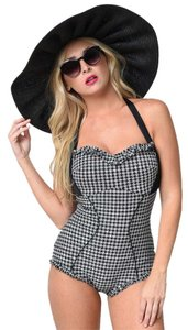 Unique Vintage Rosalind Black Gingham Halter One Piece Swimsuit