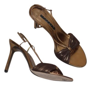 Laundry by Shelli Segal Leather Strappy Italian Slingback Gold Sandals