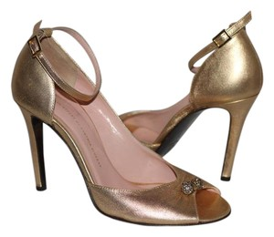 Twelfth St. by Cynthia Vincent Metallic Leather Ankle Strap Italian Gold Pumps