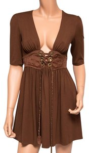 Ingwa Melero short dress Brown 28 Jem Sexy Rayon Lace Up on Tradesy