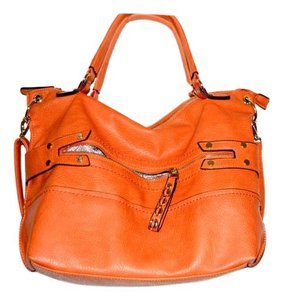 Hausofgiovanni Powder Room Zippers Roomy Satchel in Orange