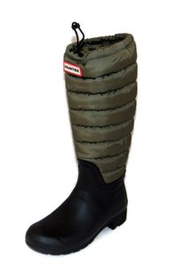 Hunter Quilted Leg Rain Swamp Greenblack olive Boots