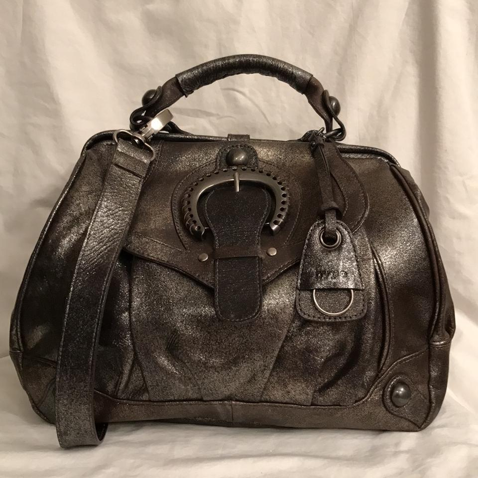 Hype Purse Handbag Shoulder Tote Distressed Satchel In Sliver Gray Gunmetal