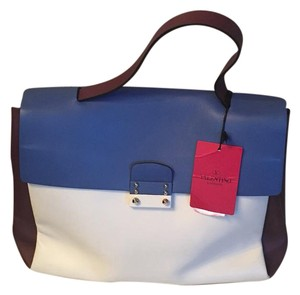 Valentino Tote in cream, blue and burgundy
