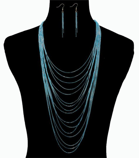 Preload https://item2.tradesy.com/images/blue-colored-layered-chain-necklace-20617561-0-1.jpg?width=440&height=440