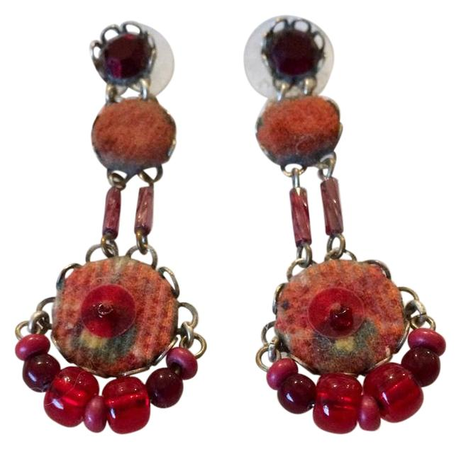 Item - Red with Silver Hardware Classic Earrings