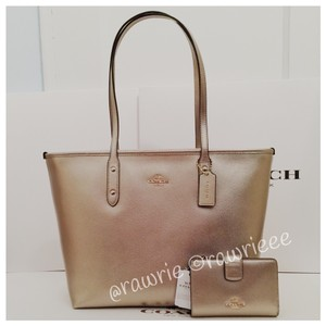 Coach City Zip And Bifold Wallet Set Tote in Pewter