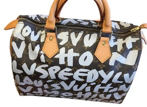 Louis Vuitton Satchel in Brown and White