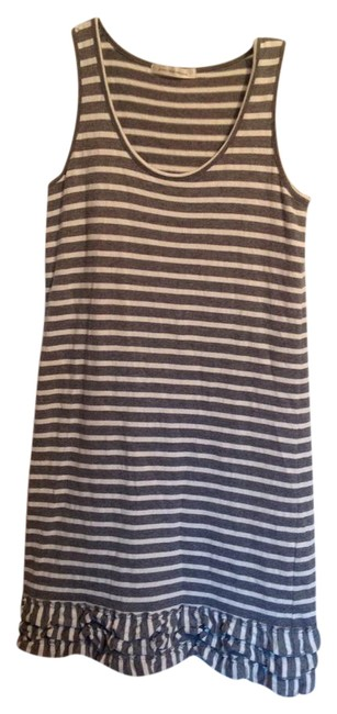 Preload https://item1.tradesy.com/images/grey-and-cream-stripe-tank-mid-length-short-casual-dress-size-6-s-20617860-0-1.jpg?width=400&height=650