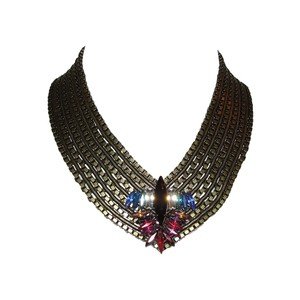 DANNIJO Dannijo Rhinestone Samirah Brass Collar Necklace